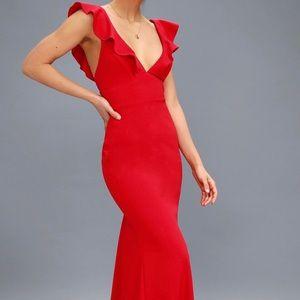 Lulu's full length red dress